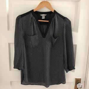 H&M black/white semi-sheer blouse with pockets 10